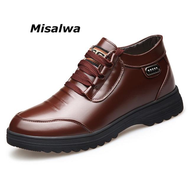 Misalwa inverno botas masculinas couro do plutônio quente isolamento de pele botas de tornozelo clássico ao ar livre casual básico botas de homem mais velho