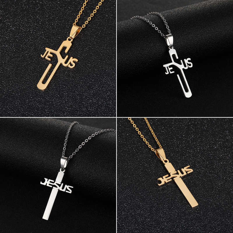 Gesù Croce Pendente Della Collana Dei Monili Religiosi per Gli Uomini/Le Donne in Acciaio Inox Catena Christian Simbolo Bel Regalo