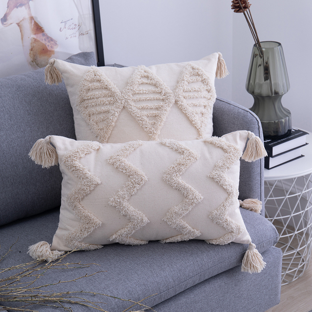 Tassels Cushion Cover 45x 45cm/30x50cm Beige Pillow Cover  Handmade Square Home Decoration for living Room Bed Room Zip Open 3
