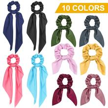 Get more info on the YBLNTEK Bow Streamers Hair Ring Girl Elastic Hair Bands Scrunchies Horsetail Tie Solid Headwear Ribbon Hairband Hair Accessories
