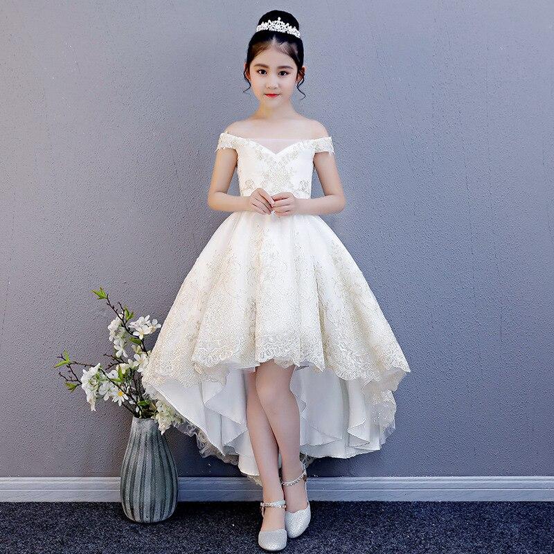 CHILDREN'S Dress Puffy Yarn Princess Dress Tailing Girls Wedding Dress Host Costume Front Short Long Back Flower Boys/Flower Gir