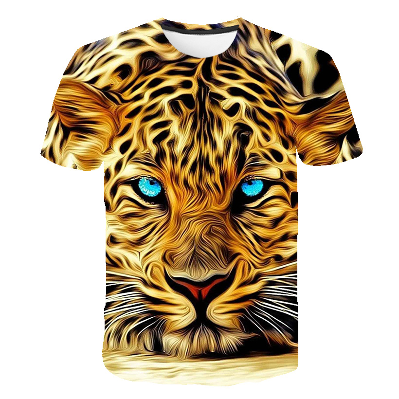2020 Newest Animal 3D Print Leopard Cool Funny T-Shirt Men Short Sleeve Summer Tops Tees Fashion Oversized T Shirt 3d Shirts Top