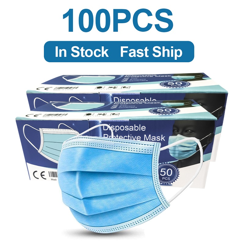 100PCS Face Mouth Mask 3 Layer Non-woven Protection Masks Anti Dust Bad Smell Thickened Disposable Mouth Mask Filter Safety Mask