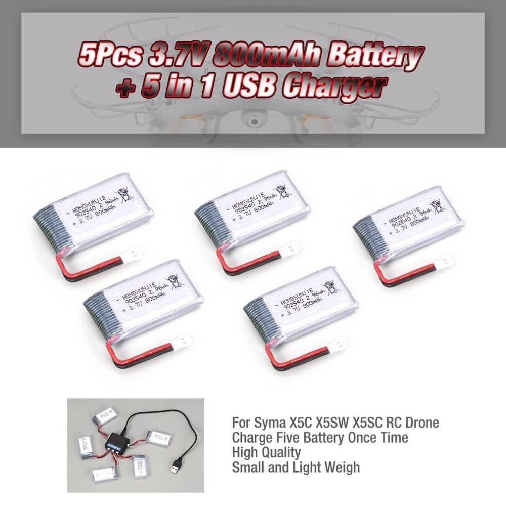 5pcs 3.7V 800mAh Battery + 5 In 1 USB Charger For Syma X5 X5C X5SW X5SC MJX X705C SG600 RC Drone Quadcopter Spare Battery Part