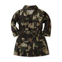 Girl Trench Coat Fashion Camouflage Print Winbreaker Jacket Children Girl's Long