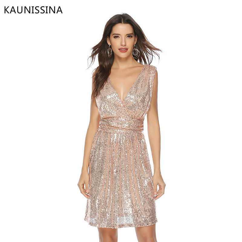 KAUNISSINA Women Sexy Sequins Cocktail Dress Solid V-Neck Sleeveless High Waist Dress Homecoming Dresses Party Gown Real Photo