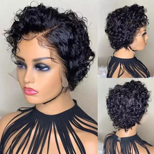 Arisonhair Pixie Cut Bob Short Curly 250 Density Lace Front Human Hair Wigs Brazilian Remy Human Hair Pre Plucked With Baby Hair