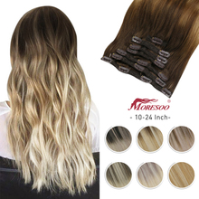 Hair-Extensions Highlight-Machine Human-Hair Seamless Clip-In Moresoo Natural Straight