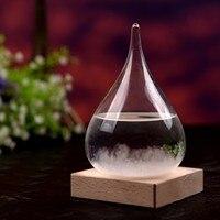 75x119mm desktop droplet tempestade garrafa de vidro previsão do tempo monitor barômetro com base de madeira para decoração de casa Estatuetas e miniaturas     -
