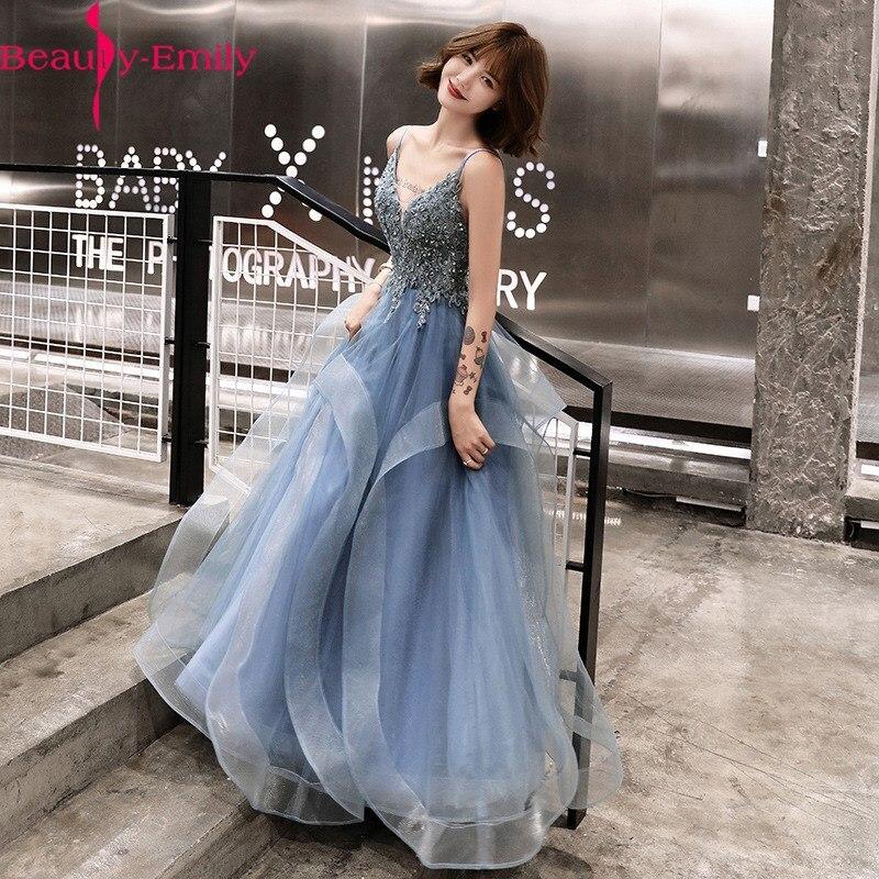 Beauty Emily 2020, сексуальное кружевное платье с v-образным вырезом, аппликация вечернее платье, длинное элегантное платье на бретельках, открытая ...