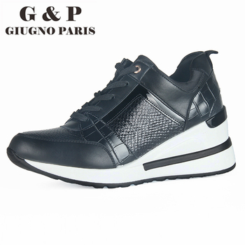 New sneakers fashion women shoes high quality snake casual lightweight wedge sneaker 6 cm wedge heels with leather insole mac wedge