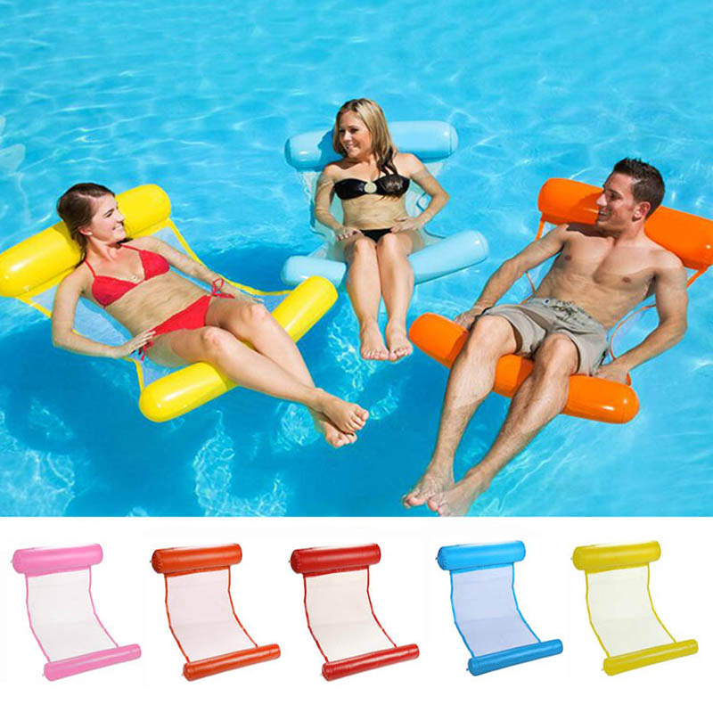New Summer Inflatable Floating Row Pool Air Mattresses Beach Foldable Swimming Pool Chair Hammock Water Sports Piscina 130*73CM