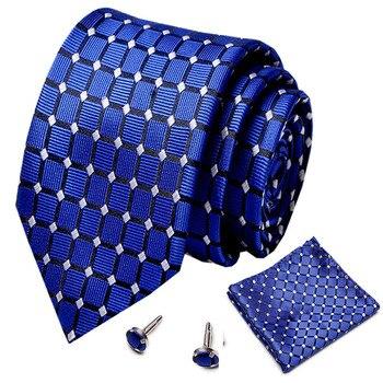 2020 New Arrival Mens Ties Set Plaid Pattern Navy Blue Wedding Necktie 7.5cm Business Silk For Men