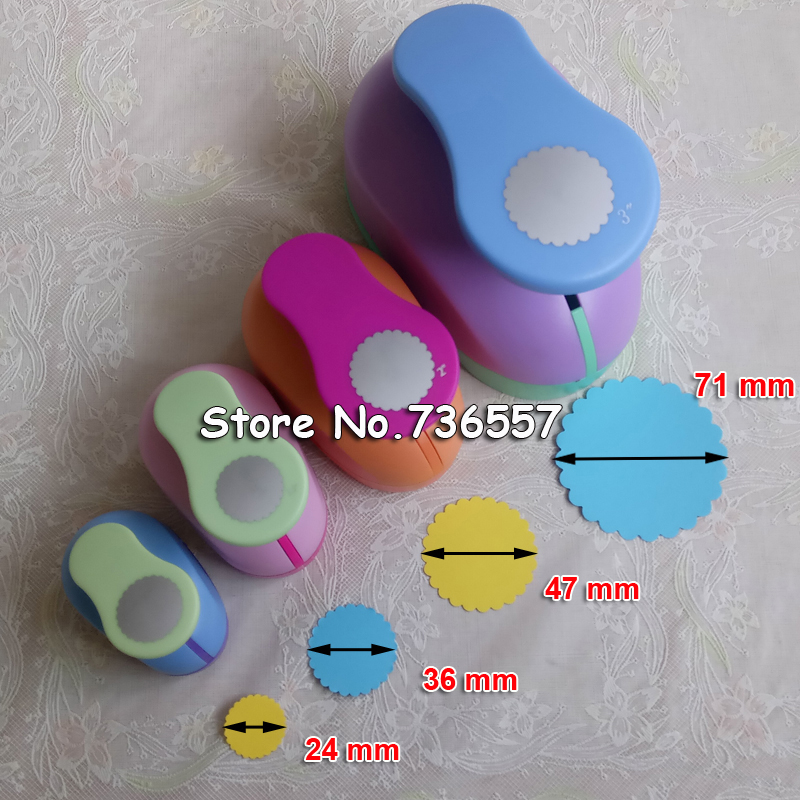 Free Ship 15mm-71mm Wave Circle Shaped Craft Punch Scrapbooking School Geometry Paper Cutter EVA Foam Wave Round Hole Punches