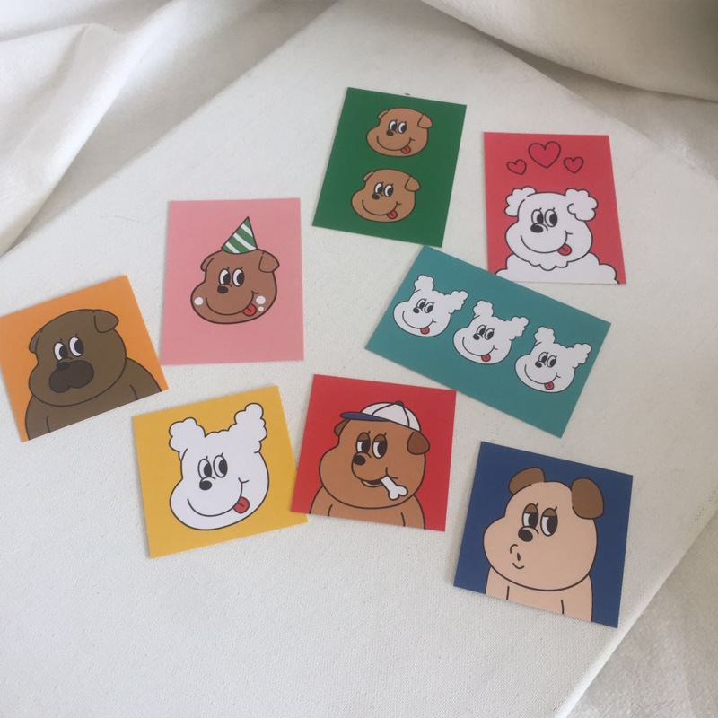 SIXONE 8 Sets Lovely Dog Creative Decorative Cards Mobile Shell Card Wall Decoration Shooting Props Decorative Painting Suit
