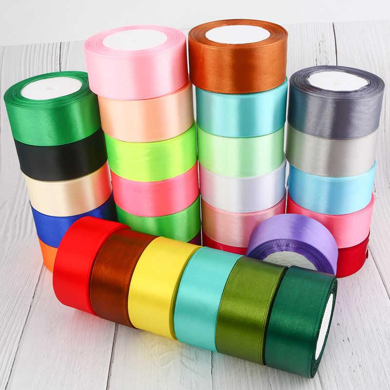 25 หลา 6/10/15/ 20/25/40/50 มม.ซาตินริบบิ้น DIY ประดิษฐ์ผ้าไหมกุหลาบหัตถกรรมอุปกรณ์เย็บผ้า Scrapbooking วัสดุ