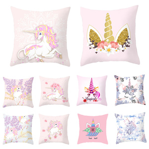 45cmx45cm Unicorn Cushion Cover Unicorn Party Decoration DIY Unicorn Birthday Decor Unicornio Pillow Case Hawaiian Party Decor