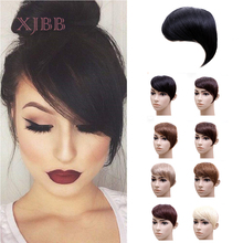 XJBB Gradient Bangs Clip in Synthetic Hair Bangs Natural Clip on Side Bangs Straight Fringe Hair Extensions