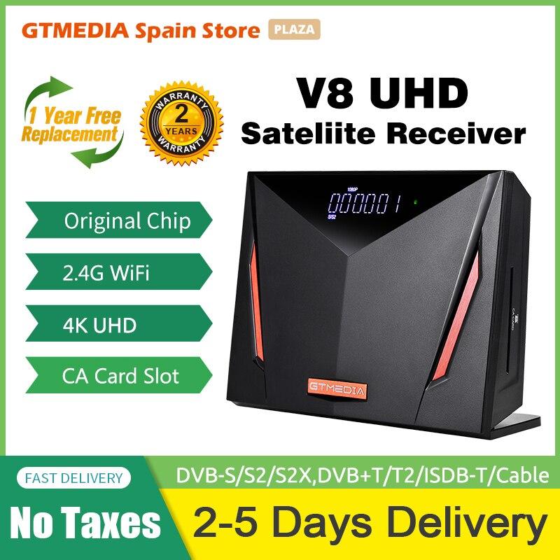 👍2020 NEW GTmedia V8 UHD Satellite Receiver 4K Ultra HD DVB-S2 T2 Cable Tuner H.265 2.4G WIFI CCAM OSCAM Stock in Spain Germany