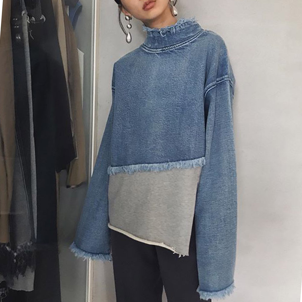Womens Denim Long Sleeve Sweatshirt Jumper Pullover Tops Autumn Winter Femme Loose Blue Harajuku Jean Pullovers Girls Student