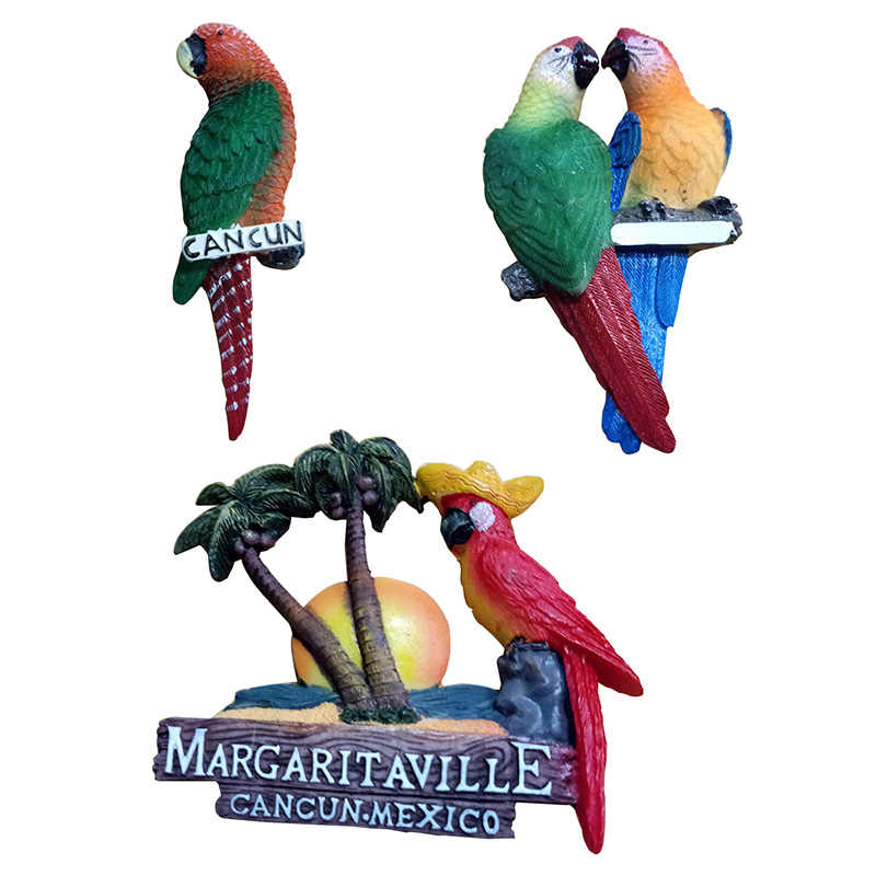 Mexico Tourist Souvenir Three-dimensional Resin Parrot Refrigerator Stickers Fridge Magnet Stickers Decoration 3d Fridge Magnets