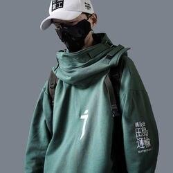 Pescoço alto boca de peixe pulôver camisolas japonesas homem/mulher hoodies oversize streetwear hip hop harajuku masculino topos