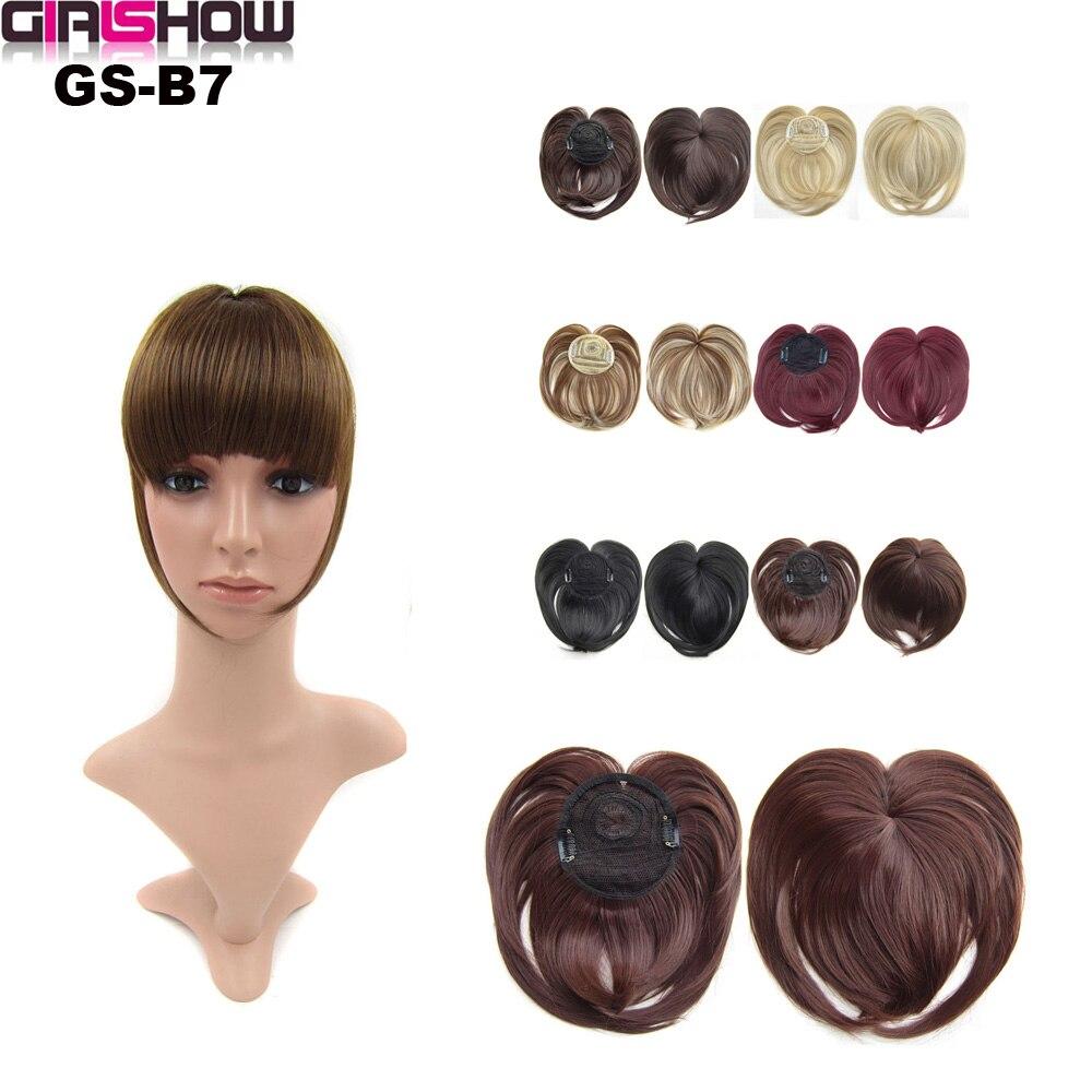 Синтетические волосы для девочек на клипсе с тупой челкой, коричневые, Черные Накладные челки с высокотемпературным волокном