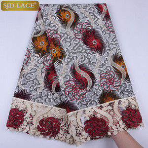 Image 4 - African Wax Lace Fabric Hot Sale Latest Arrival Wax Lace With Guipure Cord Lace Fabric For Nigerian Wedding Party Dress  A1295