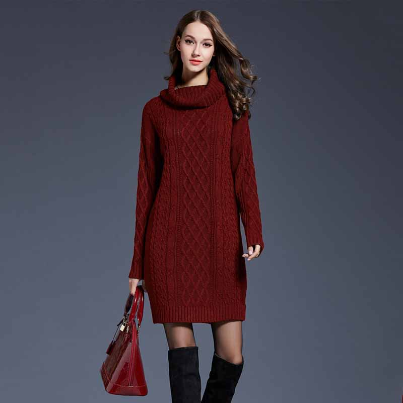 Autumn Women Red Sweater Solid Color Turtleneck Winter Warm Knit Clothes Large Size Ladies Loose Thin 4XL Pull Large Female Tops