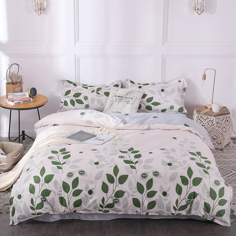 BEST.WENSD White Beding Cotton comforter sets new Leaf pattern duvet set flat Bedspread pillowcases bedding cover double single image