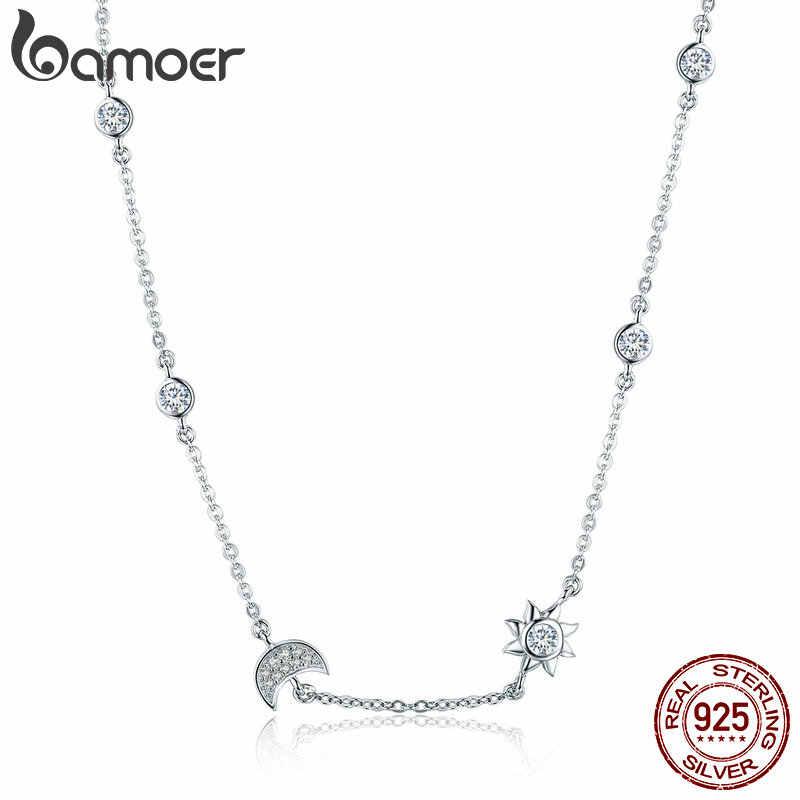 11,11 Verkäufe 925 Sterling Silber Funkelnden Mond und Stern Exquisite Anhänger Halsketten für Frauen 925 Silber Schmuck Geschenk SCN272
