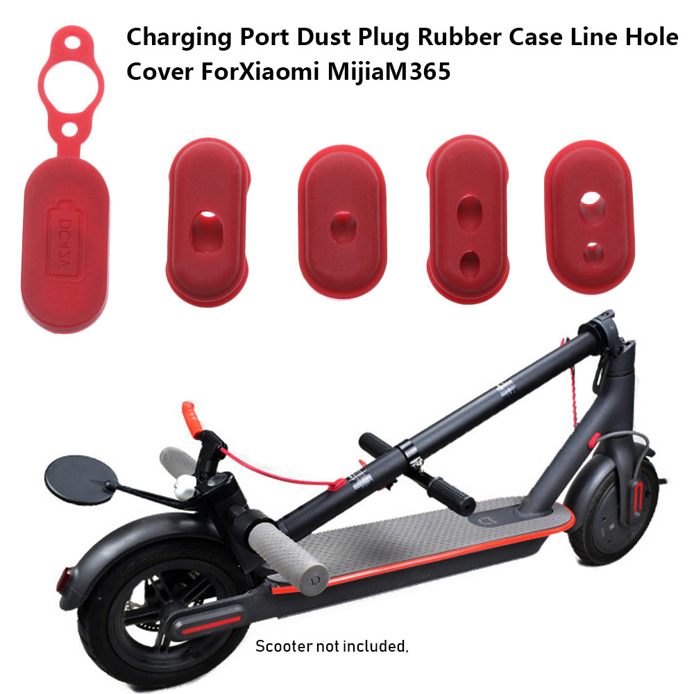 4 PCs Red Color Rubber Charge Port Cover Rubber Dust Plug Case for XIAOMI M365 Electric Scooter Parts Skateboard Accessories