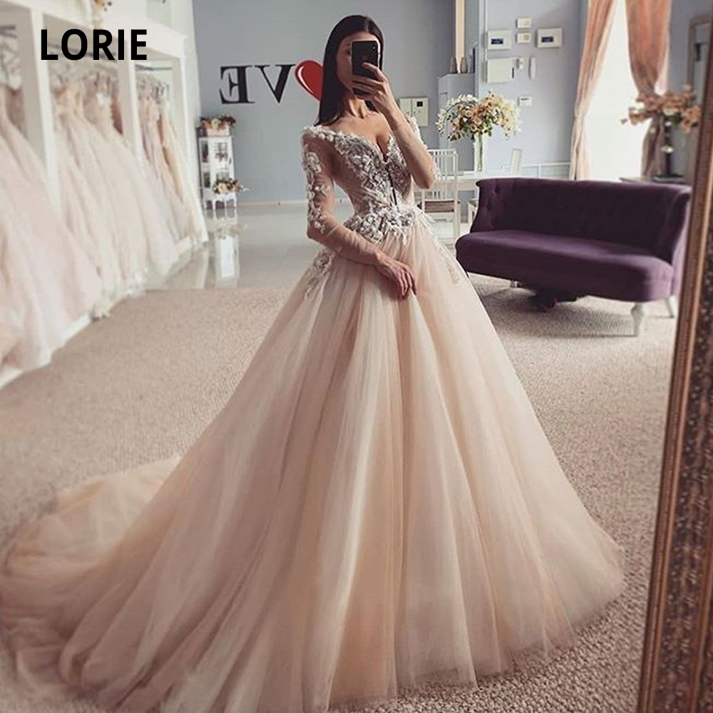 LORIE Tulle Wedding Dresses Boho Lace Appliques With Long Sleeve 2020 New Bridal Gowns Plus Size Princess Party Dresses Vintage