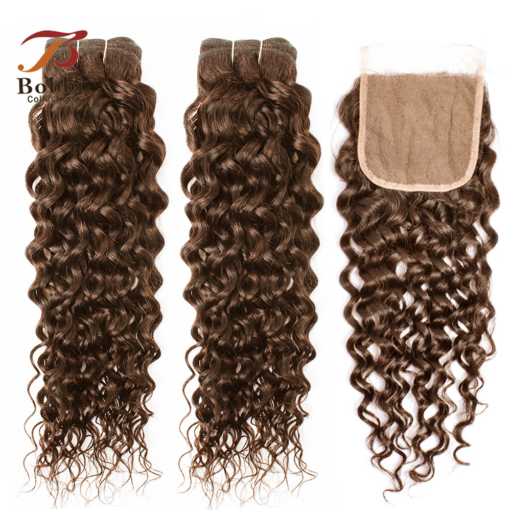 MOGUL HAIR Brazilian Water Wave Bundles With Closure 14-24 Inch Chocolate Brown Color 4 Pre-Colored Non Remy Human Hair Weave