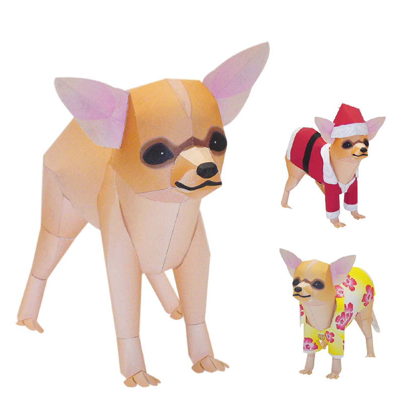 Chihuahua Dog Folding Cutting Mini Cute 3D Paper Model Papercraft Pet Animal Figure DIY Kids Adult Handmade Craft Toys QD-084
