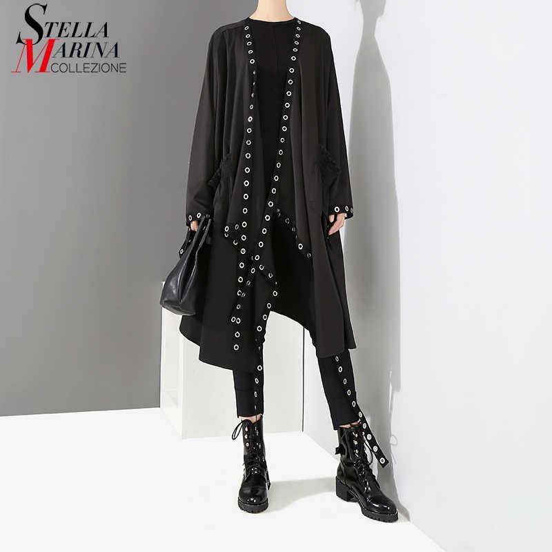 2019 koreanische Stil Frauen Sehr Lange Feste Schwarz Jacke Open Design Lange Band Genäht Metall Löcher Weibliche Stilvolle Lose Jacke 3843