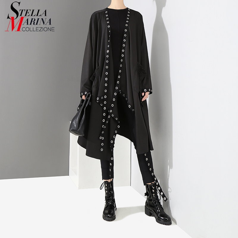 2020 Korean Style Women Solid Black Unique Jacket Open Design Very Long Tape Metal Holes Female Stylish Loose Jacket Cloak 3843Jackets   -