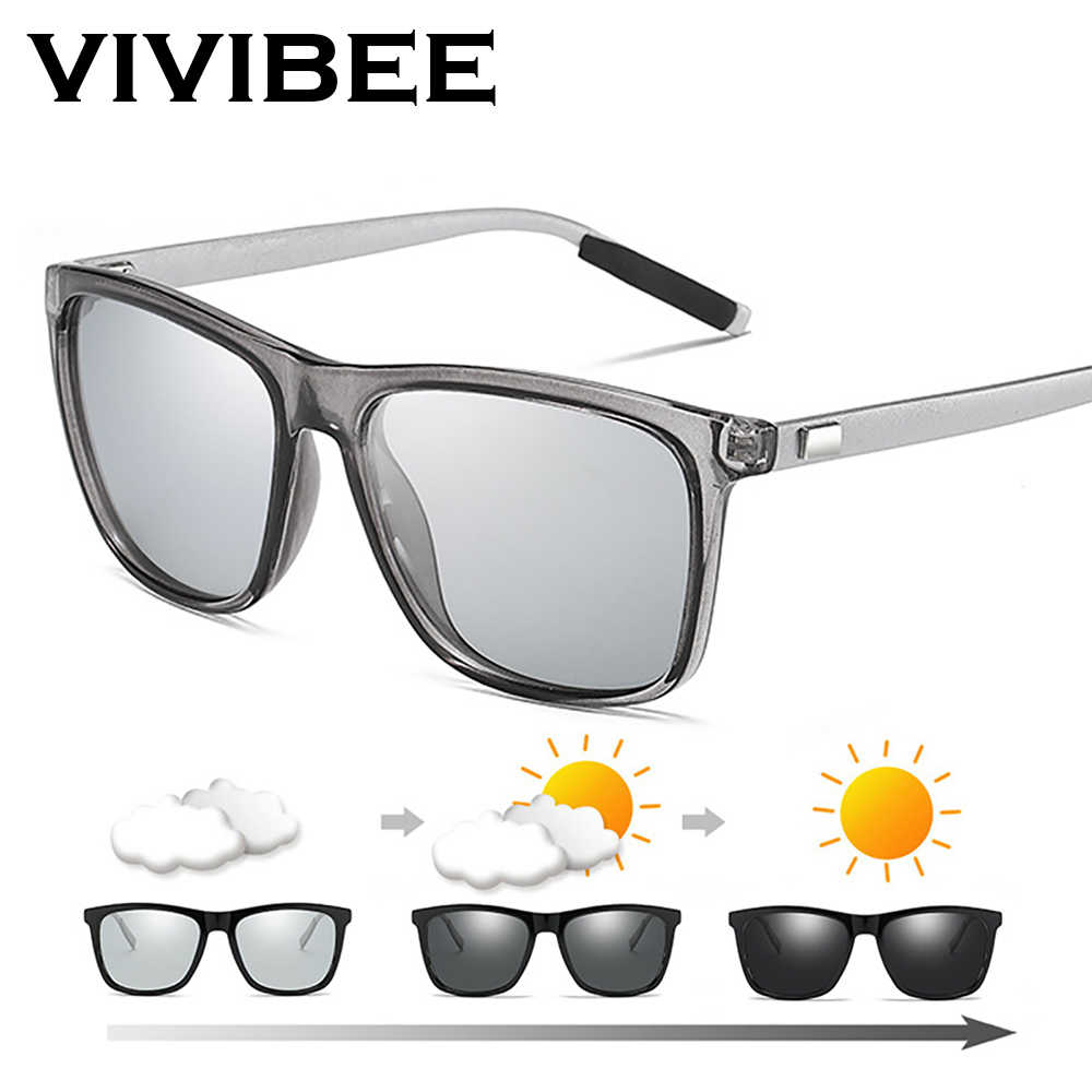 Vivibee Perubahan Warna Grey Frame Photochromic Polarized Kaca Mata Pria Square Klasik Bunglon Glaases Transisi Lensa Kacamata