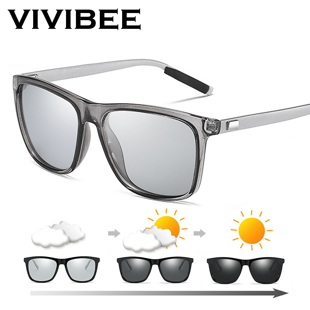 VIVIBEE Color Change Grey Frame Photochromic Polarized Sunglasses Men Square Classic Chameleon Glaases Transition Lens Eyewear
