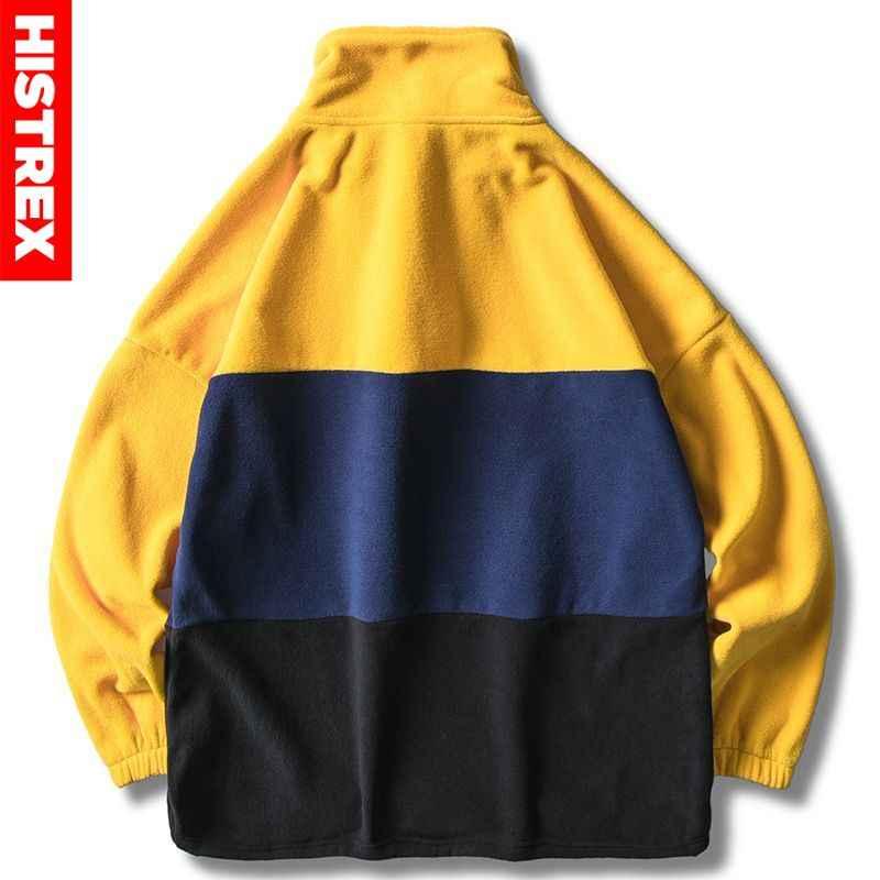 2020 레트로 빈티지 자켓 힙합 streetwear 남자 하라주쿠 컬러 블록 풀오버 자켓 하프 지퍼 가을 겨울 양털 자켓 코트