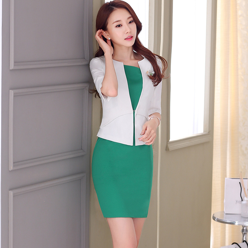 HOT female elegant woman's office blazer dress jacket suit ladies office wear sets costumes business office dresses 2piece set