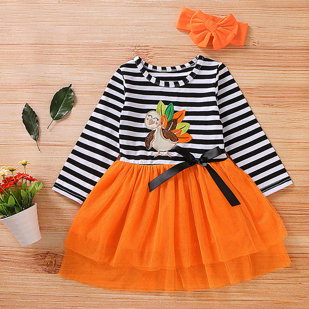 Toddler Baby Girls Thanksgiving Day Dress Outfits Long Sleeve Turkey Striped Tulle Dress+headband Girls Autumn Dress Vestido