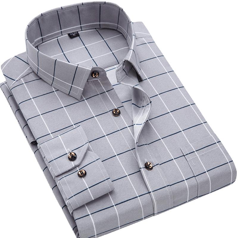 Men Shirt Long Sleeve Floral Printing Plaid Fashion Pocket Casual Shirts 100% Polyester Soft Comfortable Men Dress Shirt DS375 19