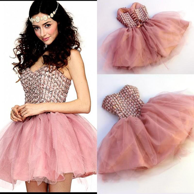 Pink Ruched Ruffles Beading Cap Sleeve A-line   Cocktail     Dresses   Simple Sleeveless Sweetheart Neck Tulle Party Gown коктейльное