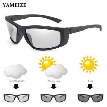 YAMEIZE Polarized Photochromic Sunglasses Men Women Square Color Change Sun Glasses Chameleon Eyewear Driving Goggles Gafas