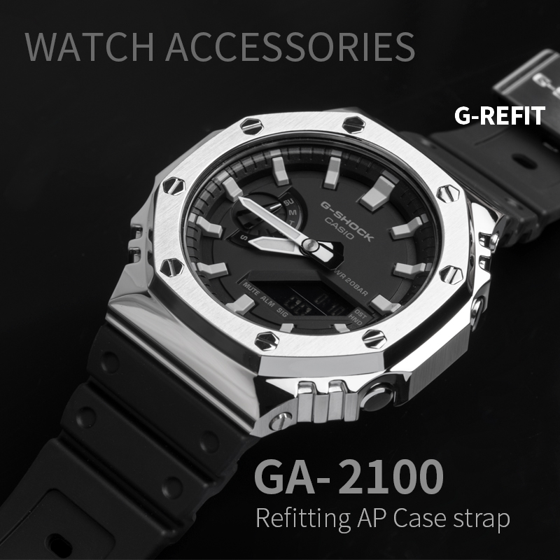 G-Refit GA2100 Metal Watch Band Bezel Strap Stainless Steel Watchband Frame Bracelet Accessory With RepairTool  Silver Ga-2100