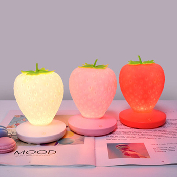 Creative Home Strawberry Night Light USB Charging Bedside Decoration Atmosphere Lamp Led Silicone Eye Protection Table Lamp creative strawberry silicone led night light eye protection touch atmosphere lamp children cartoon usb charging table lamp