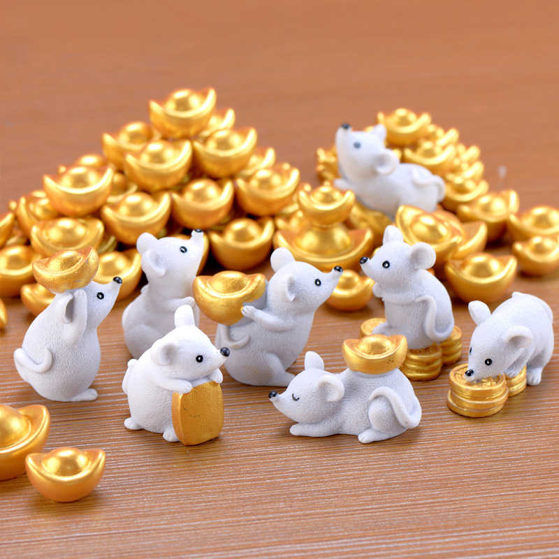 2020 Chinese New Year Decor Mascot Money Mouse Ingots Ornaments Souvenir Figurine Model Crafts Gift Miniature Garden Accessories