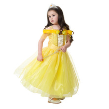 Fashion Cartoon Belle Cosplay Baby Girl Dress High-Grade Princess Kids Clothes for Christmas Party Costume Off Shoulder Dress