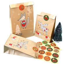 24set Di Natale Creativo Stand up Sacchetto di Carta Regalo Carino Volpe Alce Kraft Busta di Carta con Numero di Natale Sticker Invito busta(China)